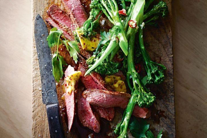 Lamb tagliata with broccolini and anchovy and chilli butter