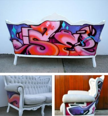 Graffiti Back Sofa - Wow!  I wish I could pull this off!!!!!