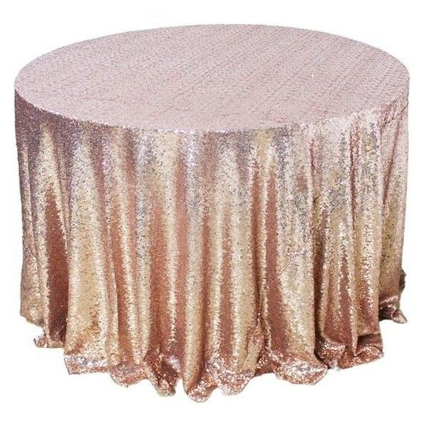 """108/""""round Champagne Gold Sequin Tablecloth for wedding or party"""