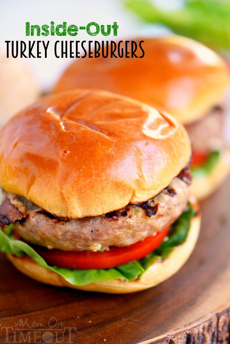 Fire up that grill for these Inside Out Turkey Cheeseburgers! Loaded with flavor and filled with fresh mozzarella cheese, green onions, and Dijon mustard!