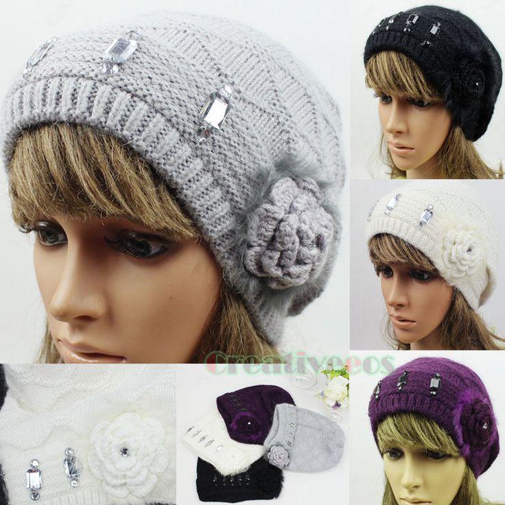 Bear Flower Rhonestone Winter Wool Hat Snow Knitted Beanie Pompom Ski Hat Angora