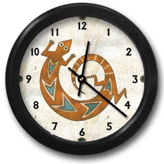 Copper Lizard Round Acrylic Wall Clock - From our Southwestern Clocks category, this clock has a traditional Native American gecko symbol.  $38.00