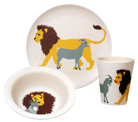 HUNGRY LION. Kids set. material is based on bamboo fiber and reinforced with melamine resin. Eco-friendly.