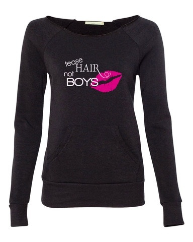 Tracy DiMarco Tease Hair Not Boys Off Shoulder Sweatshirt