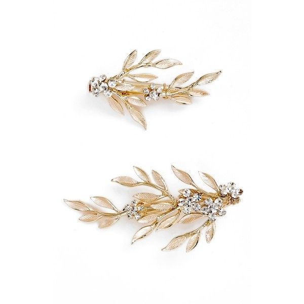 Women's Brides & Hairpins Calvina 2-Piece Hair Clip Set ($120) ❤ liked on Polyvore featuring accessories, hair accessories, gold, leaf hair clip, alligator hair clips, hair clip accessories, gold hair accessories and barrette hair clips