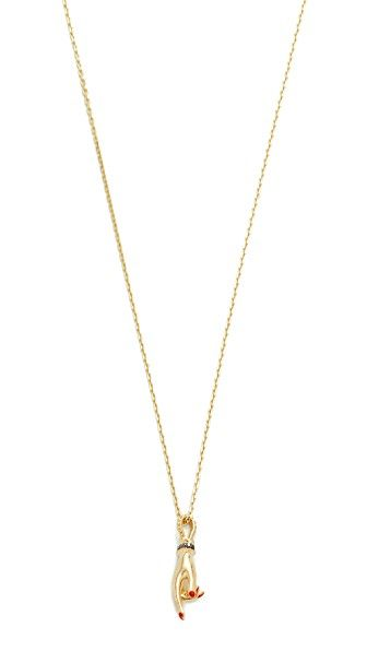 Get this Gillian Steinhardt's necklace now! Click for more details. Worldwide shipping. Gillian Steinhardt 14k Gold YAD Pendant Necklace: A whisper-thin Gillian Steinhardt necklace in 14k gold featuring a diamond-encrusted, hand-shaped pendant. Adjustable length and lobster-claw clasp. 14k gold. Total diamond weight: 0.08ct. Made in the USA. Measurements Length: 17.75-19.75in / 45-50cm Pendant length: 1in / 2.5cm (collar, cadena, cadenas, collera, colleras, collar, colgante, necklaces…