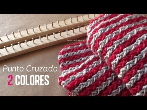 Punto Cruzado 2 Colores / Bufanda en bastido [FACIL] - YouTube  2 color stripped scarf...language is no barrier!