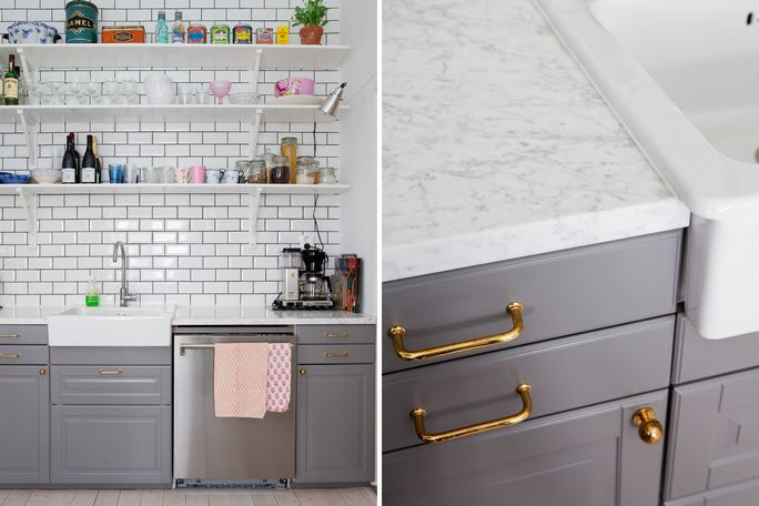 grey ikea kitchen like the brass handles