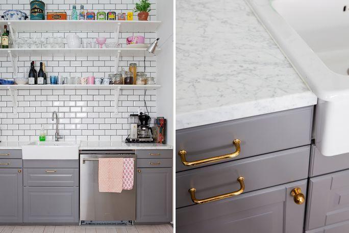 Grey Ikea Kitchen Love The Brass Handles New Kitchen
