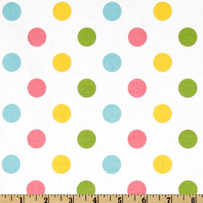 From Riley Blake Designs, this fabric is perfect for quilting, apparel, craft projects and home decor accents. Colors include hot pink, yellow, aqua and lime dots on a white background.