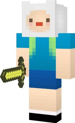 Finn the human from Adventure Time.Holding a gold sword,a minecraft skin.