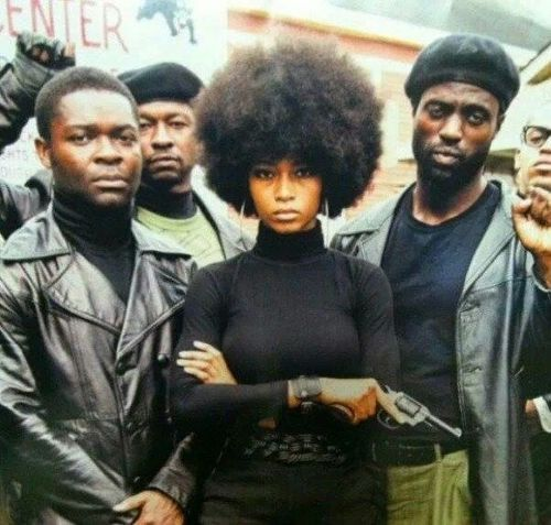 Actors David Oyelowo and Yaya Dacosta pose as members of The Black Panther Party while making Lee Daniels' The Butler.
