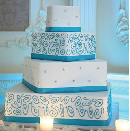 This cake caught my eye for some reason.  I think I just like the sharp, clean contrasts and simple design. - turquoise wedding cake | Turquoise Accents Wedding Cake | Palermo's Cake Bakery