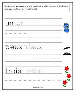 Free copywork pages: These free copywork pages can be used to teach your students the French numbers from one to ten.