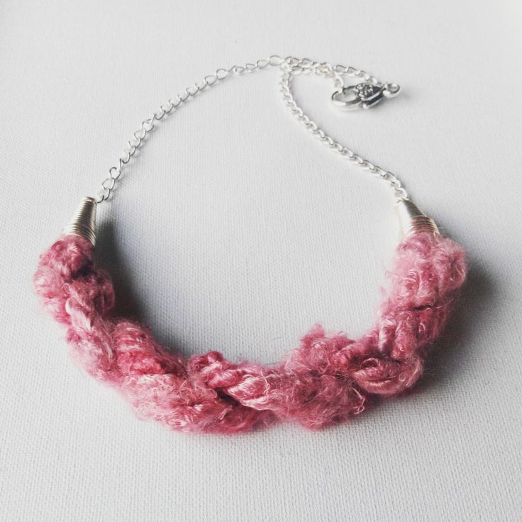 Pink vegan silk yarn necklace. made in Ireland by terramor on Etsy