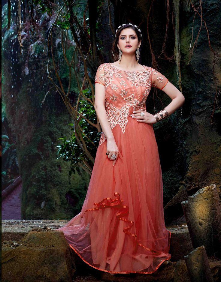 Zarine Khan Orange Net Bollywood Suit 70203