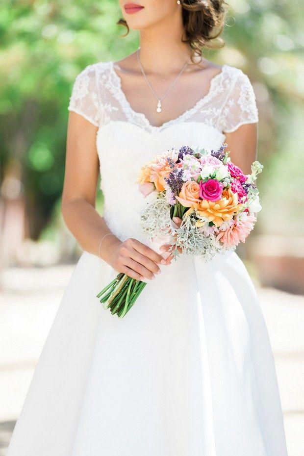 A stunning multicolour summer wedding bouquet
