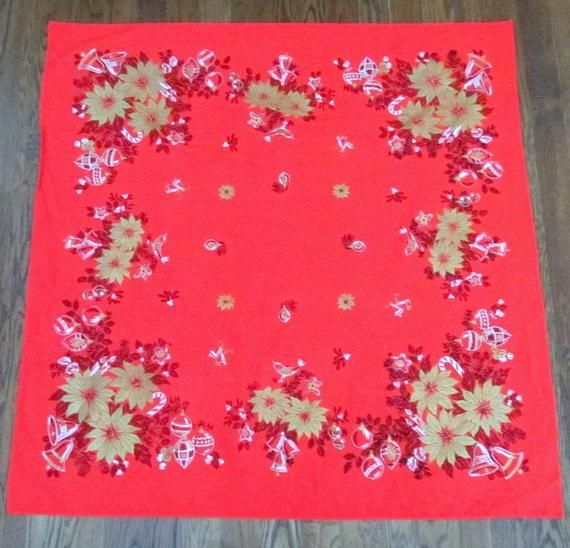Vintage Red Christmas Tablecloth 49 X 49 Square Etsy With