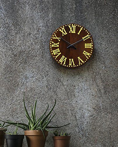 Mothers Day Gift Wooden Wall Clock Large Decorative Battery Operated For Living Room Victorian Rustic Vintage Style Round Brown 11