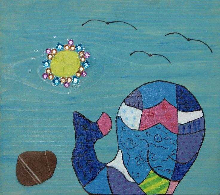 Schilderijen op hout, patchwork walvis