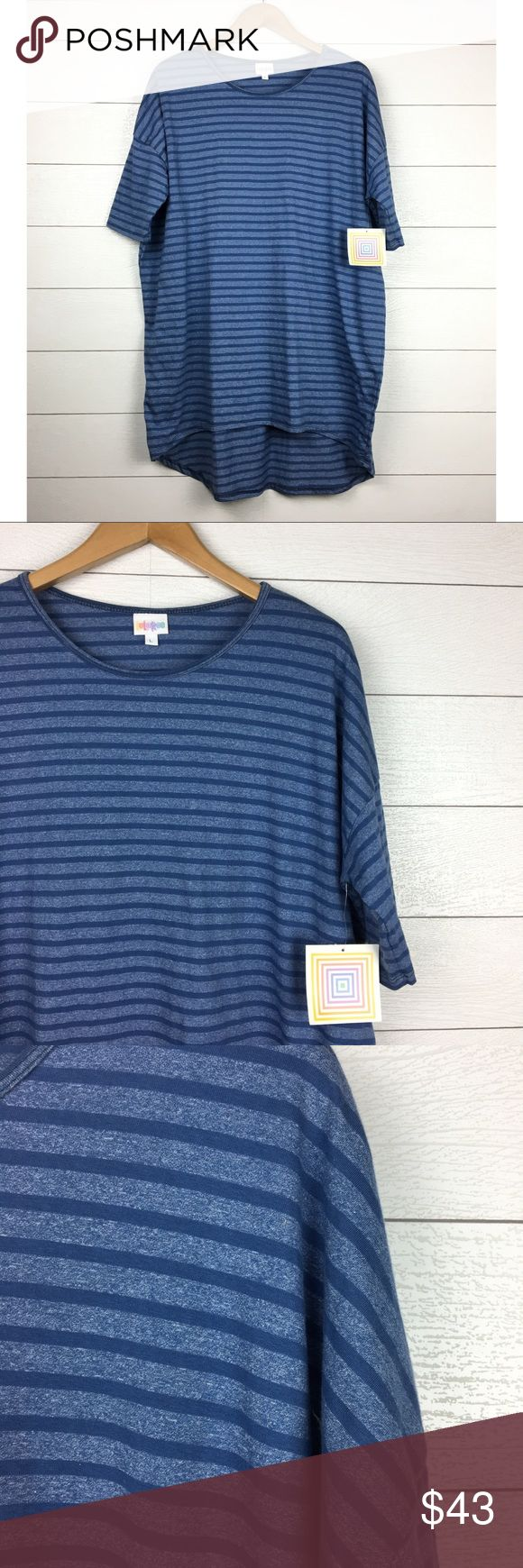 NWT LuLaRoe Irma Heathered Blue Stripe 63% cotton, 33% polyester, 4% spandex.  LuLaRoe Irma Tee.  Heathered blue stripes.  Short sleeve.  High/low hemline.  Round neckline.  Loose, oversized fit.  Size large will best fit sizes 16-18 based on online chart.  Brand new, with tags attached. LuLaRoe Tops Tees - Short Sleeve