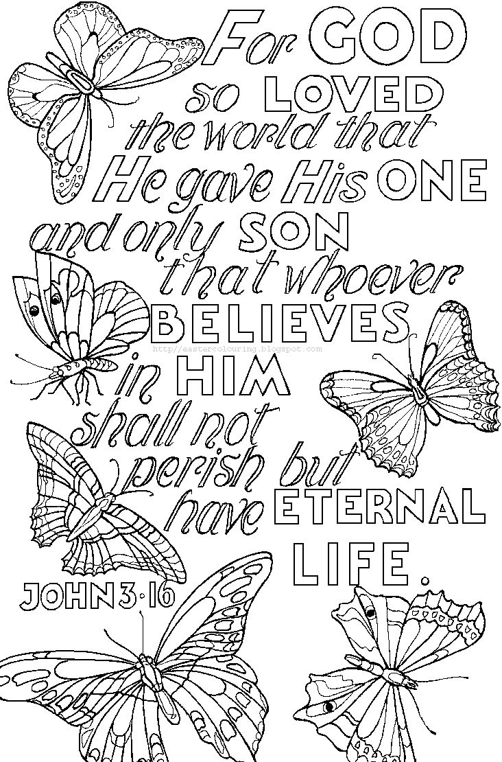 Quotes coloring pages to print - Scripture Coloring Page For God So Loved The World That He Gave His One And