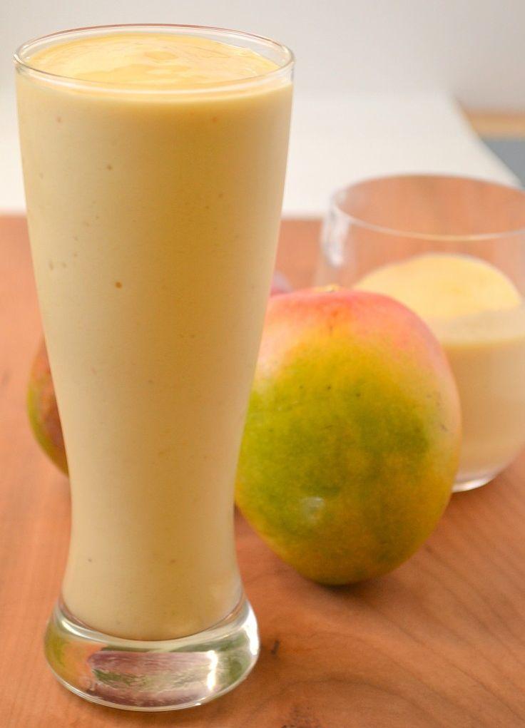 Tropical Mango Smoothie~ 1 large ripe banana 1 C mango chunks 1/2 C fresh pineapple chunks 1/2 C almond milk 2 tsp vanilla, Ice as needed, (about a large handful if not using frozen fruit)