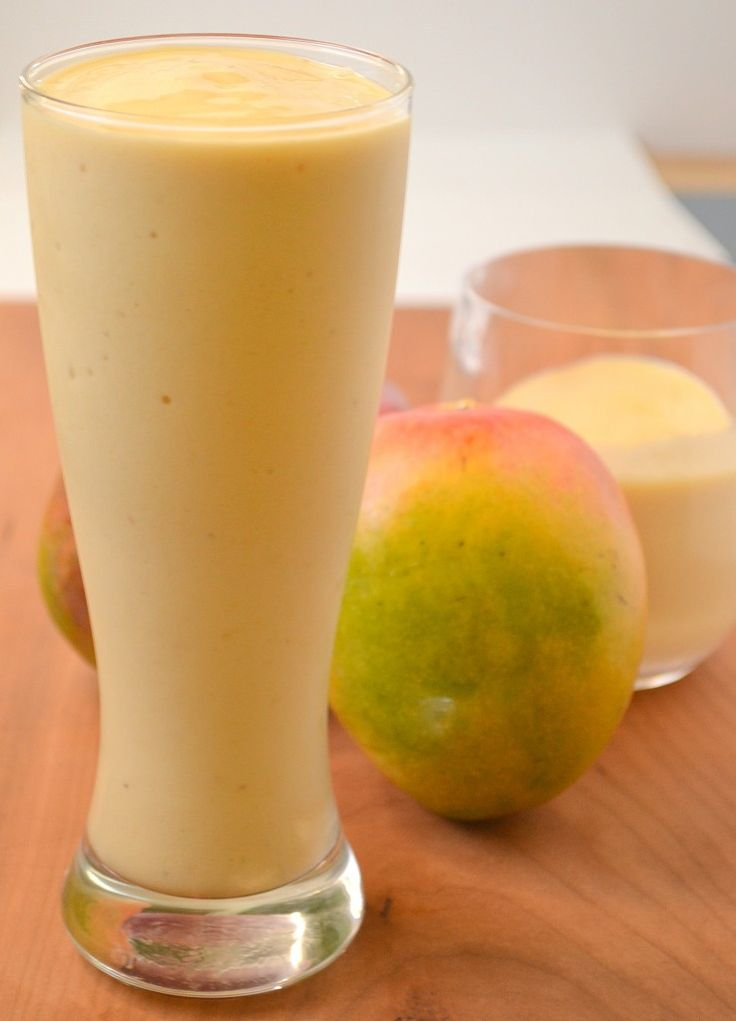 Tropical Mango Smoothie~   1 large ripe banana  1 C mango chunks  1/2 C fresh pineapple chunks  1/2 scoop your favorite protein powder(optional)  1/2 C almond milk   2 tsp vanilla  Ice as needed, about a large handful if not using frozen fruit