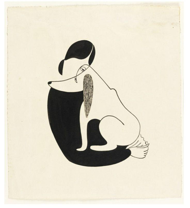 Woman and a dog, Christina Malman, 1935. Drawing, USA.  Thanks to design-is-fine on Tumblr.