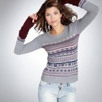 Pull coton jacquard manches longues maille - ACTIVE WEAR