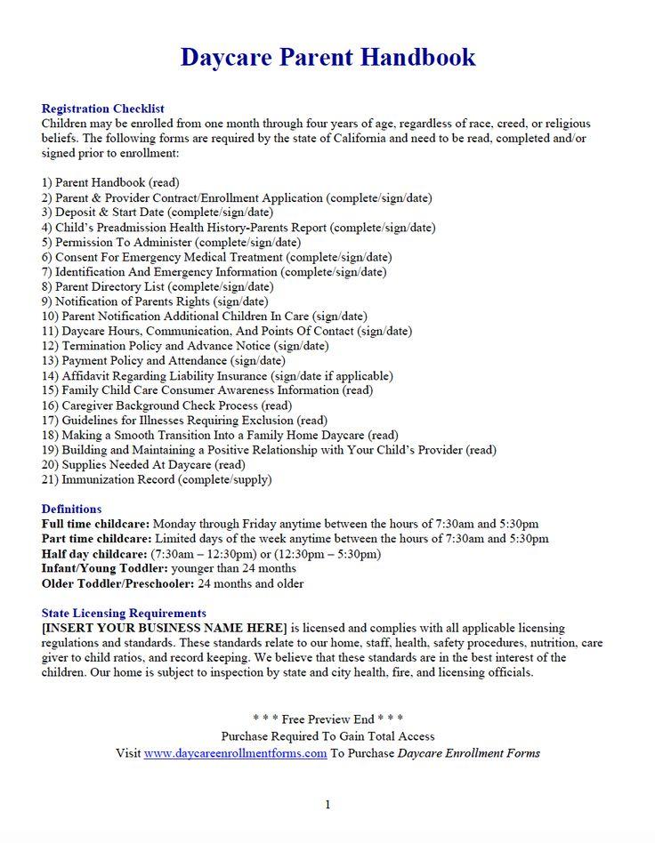 27 best Daycare Enrollment Packet images on Pinterest | Daycares ...