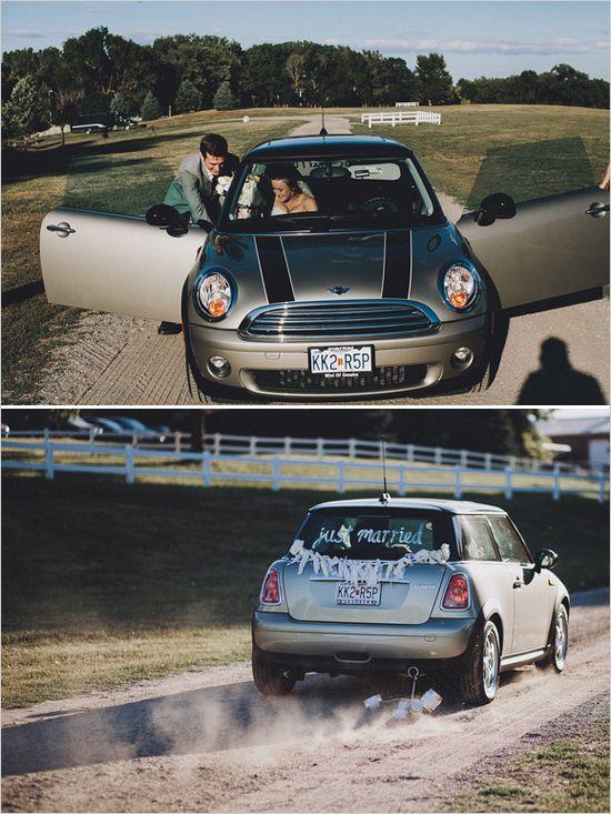 new mini coop wedding transportation #minicooper #getawaycar #weddingexit http://www.weddingchicks.com/2014/01/13/eclectic-midwest-wedding/