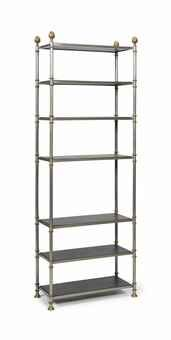 A SILVERED AND BRASSED METAL ETAGERE,  POSSIBLY JANSEN, THIRD QUARTER 20TH CENTURY at Christies Home Sale 3/5/2013