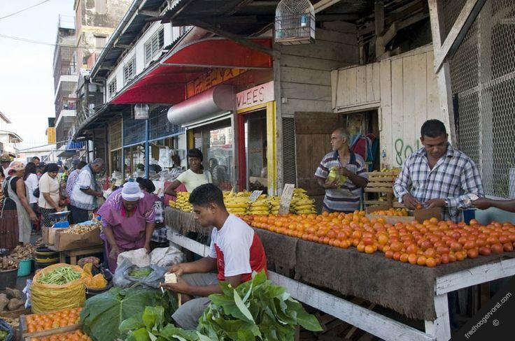south america suriname paramaribo waterkant area street vendors