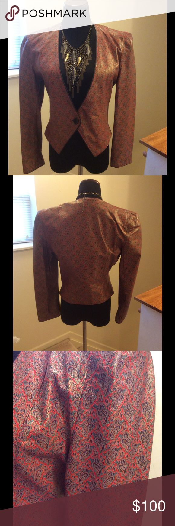 Carlos Falchi Vintage crop leather jacket Red paisley print vintage leather jacket made in Italy very rare. Carlos Falchi Jackets & Coats Blazers