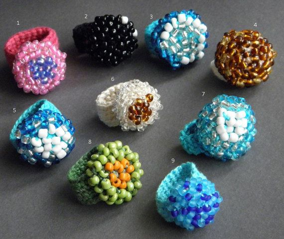 crochet rings made by cotton and beads by ginageo on Etsy, €13.00