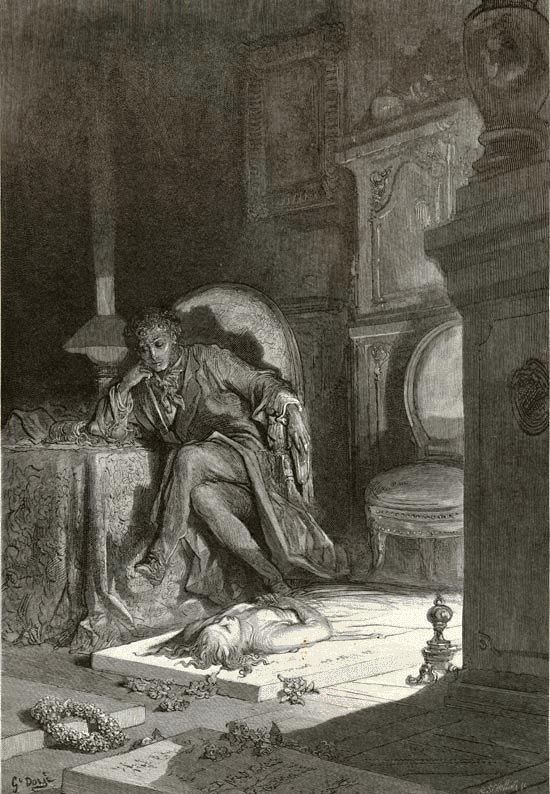 """Then, upon the velvet sinking, I betook myself  to linking Fancy unto fancy. Poe's """"The Raven"""" - Paul Gustave Dore"""