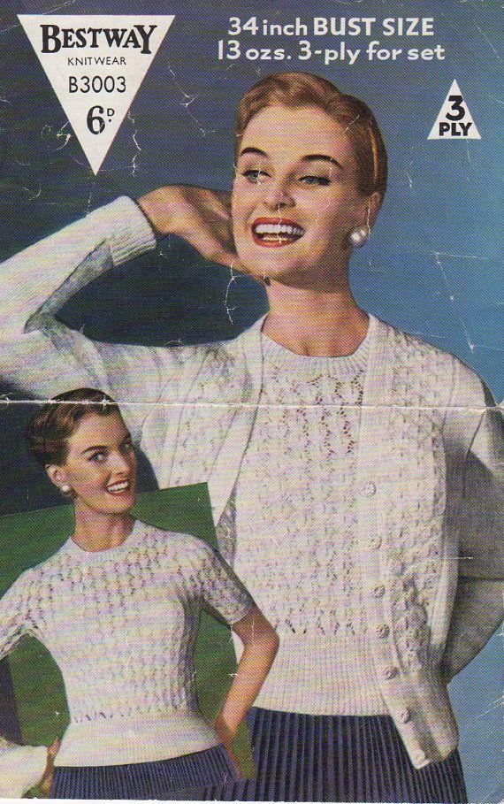 Vintage 1950's Knitting Pattern TWINSET by KitandCaboodleCrafts