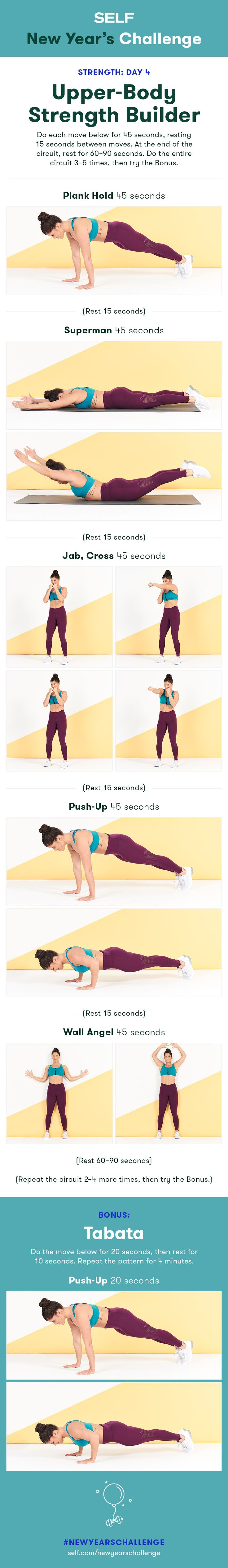 Welcome to our #NewYearsChallenge! Try this upper body strength workout for women with planks, supermans, and push-ups for strong arms and shoulders!