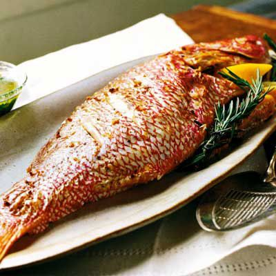 Whole Roasted Snapper with Parsley Vinaigrette..Making this tonight.  I'm adding some organic lemon pepper as well.  Can't wait to taste this.  Serving it with a corn rice casserole on the side.  I found this recipe on Pinterest too.  Enjoy :  )