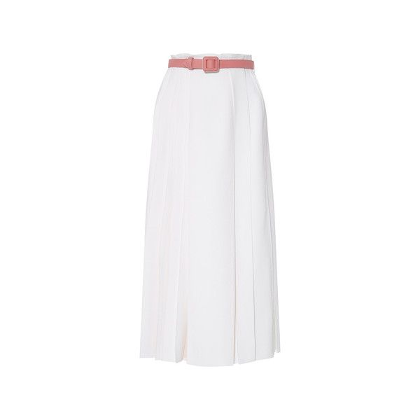 Carolina Herrera ($1,990) ❤ liked on Polyvore featuring skirts, high waisted midi skirt, carolina herrera skirt, high waisted knee length skirt, calf length skirts and mid calf skirts