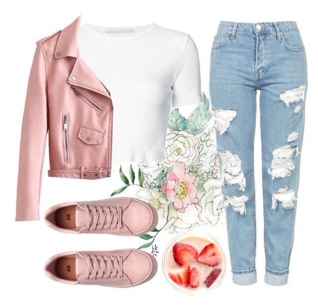 """Pink life ❤"" by andronic-otilia ❤ liked on Polyvore featuring Rosetta Getty and Topshop"