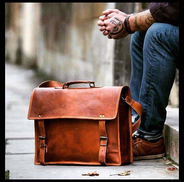 "Full Grain Leather Briefcase 15"""