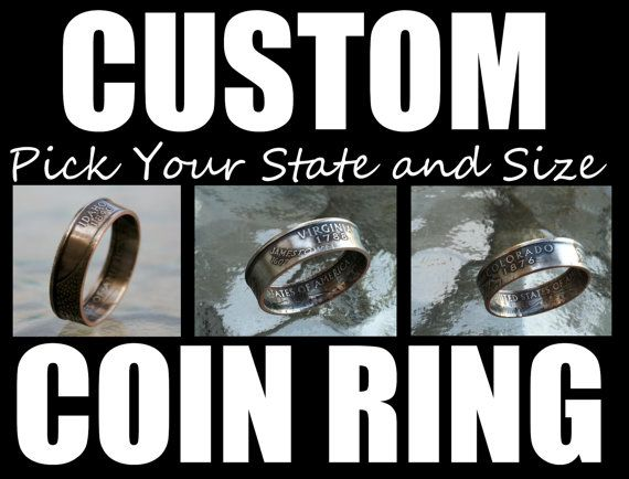 Coin Ring from State Quarter Select State and by customcoinrings, $29.95