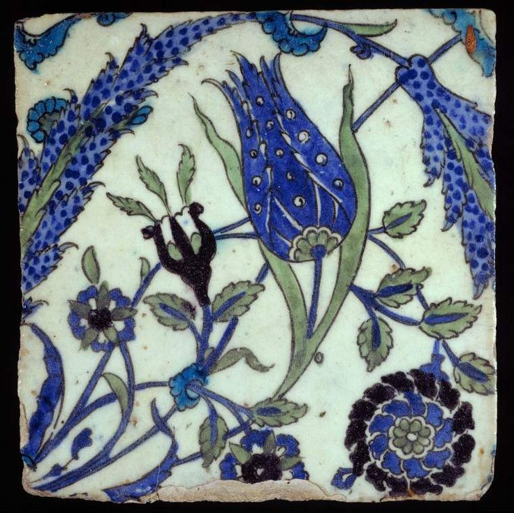 Maker:    Unknown; potter    Category:    fritware (stonepaste)    Name(s):    tile  Islamic pottery; category  Iznik; category    Date:    circa 1560 — circa 1699    School/Style:    Ottoman    Period:    late 16th or 17th Century