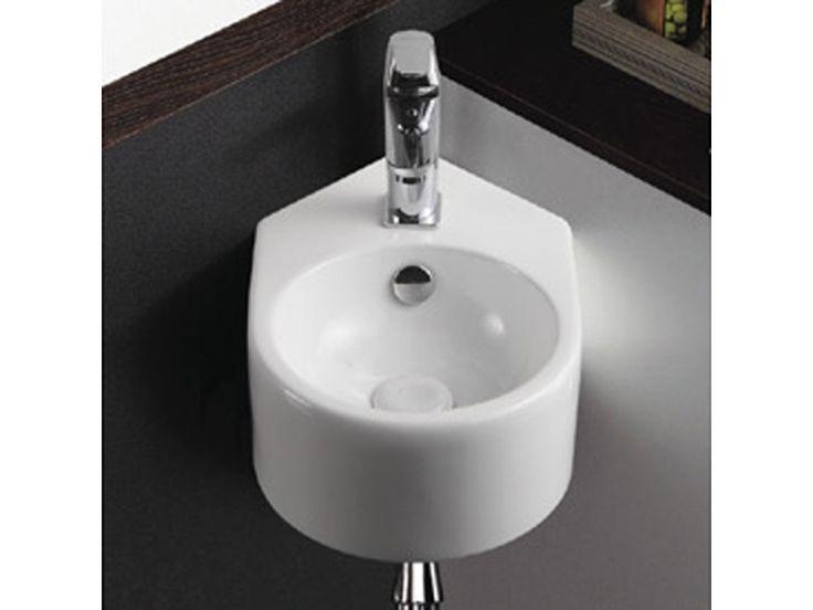 Lave main d'angle, rond, 42x27 cm, céramique blanche, style - Vente de RUE DU BAIN - Conforama
