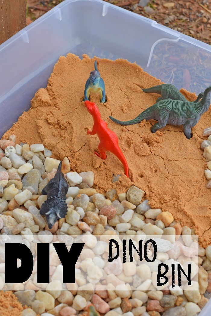 Have a little one who likes dinosaurs? Make them this DIY Dino Bin for fun outside play! includes supply list and tutorial AD #Freetobe