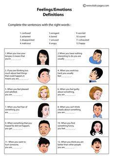 Feelings Definitions worksheets