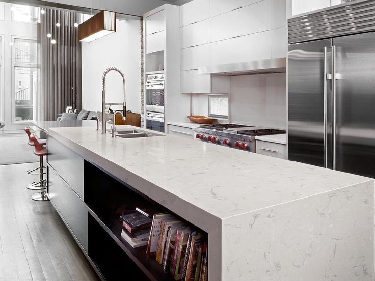 Sleek contemporary kitchen with Cambria Swanbridge collection countertops