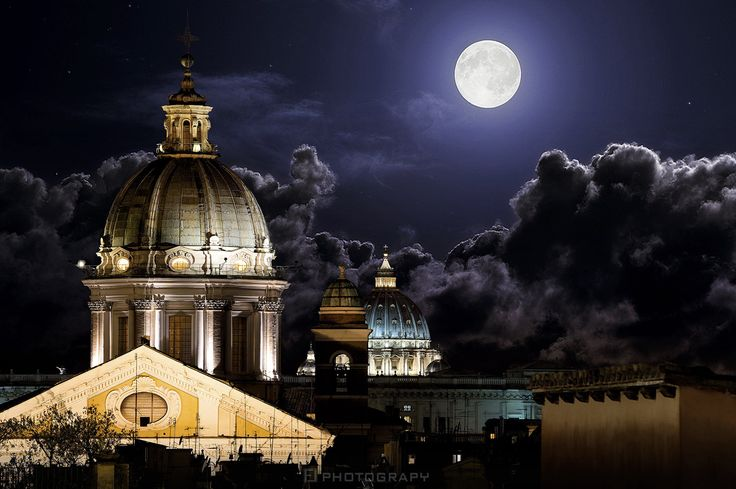 In the Moonlight by Fabio Lamanna on 500px #Night #Rome #chiesa #church #city #cityscape #cupole #domes #fabio #lamanna #moon #moonlight #san carlo #san peter #san pietro #vatican #vaticano